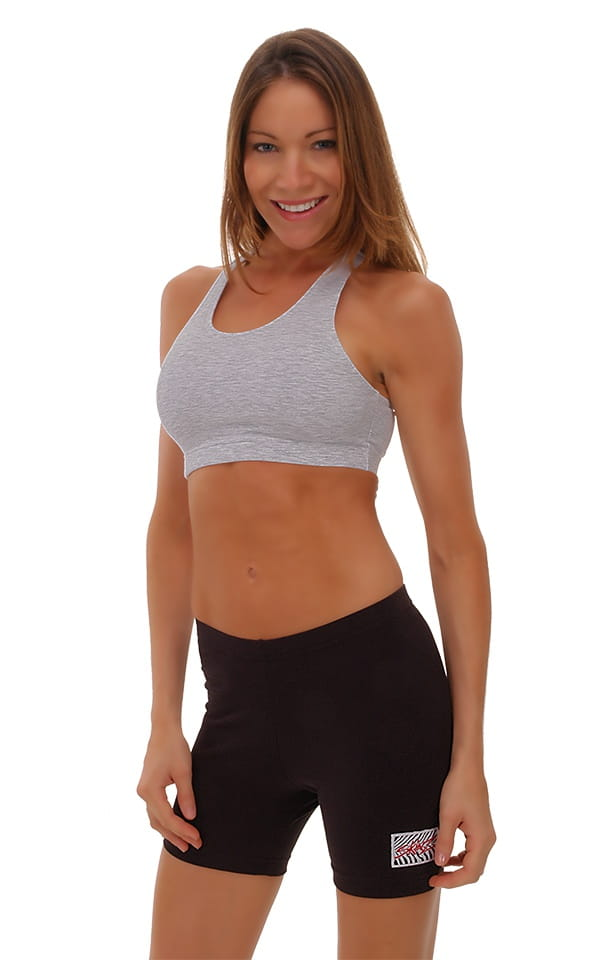 Womens Sport Top in Heather Grey Cotton-Spandex 10oz 1