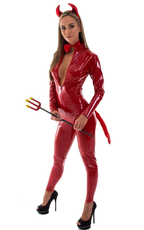 Sexy Halloween Devil Catsuit in Red Superstretch Vinyl/Lycra 1
