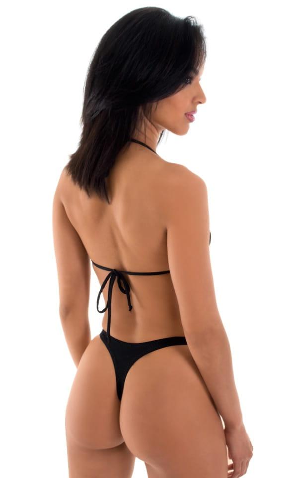 High Cut Swim Thong Bottom in Semi Sheer ThinSKINZ Black 3