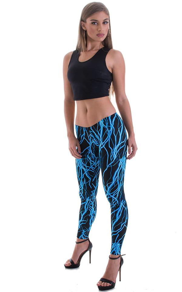 Womens Super Low Rise Fitness Leggings in Lazer Blue Lightning 1