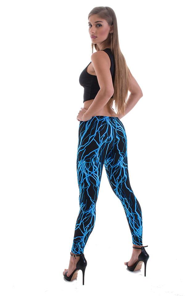 Womens Super Low Rise Fitness Leggings in Lazer Blue Lightning 3