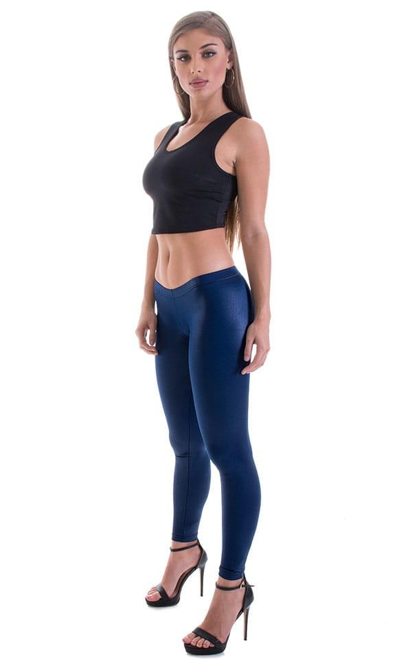 Womens Super Low Rise Fitness Leggings in Wet Look Navy Blue Nylon-Lycra 4