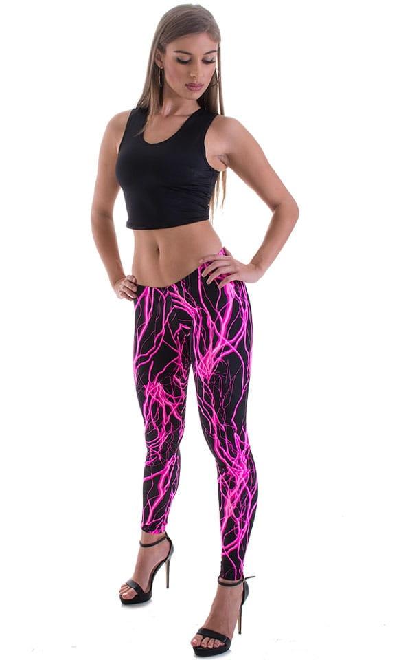 Womens Super Low Rise Fitness Leggings in Hot Pink Lightning 1