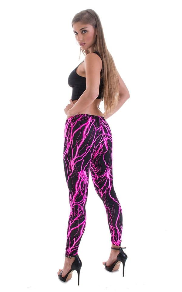 Womens Super Low Rise Fitness Leggings in Hot Pink Lightning 3