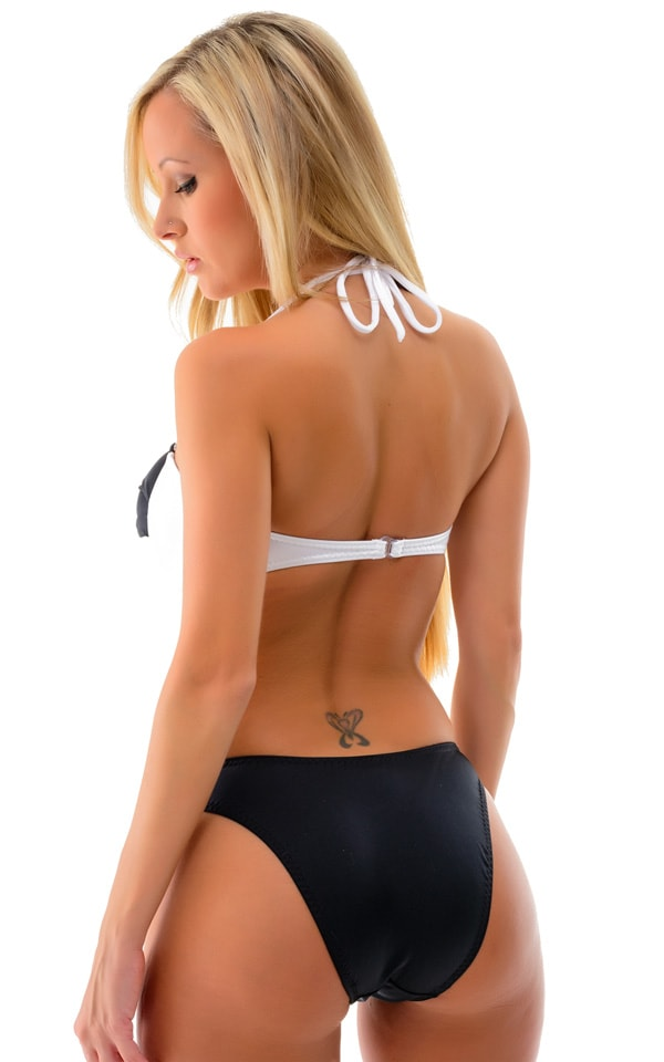 Womans Twistie Bandeau Swim Top in Optic White and Black 4