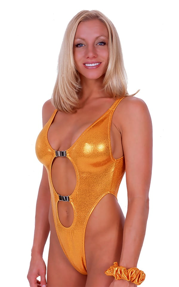 Womens One Piece Thong Swim Suit in Metallic Mystique Yellow-Chartreuse 1