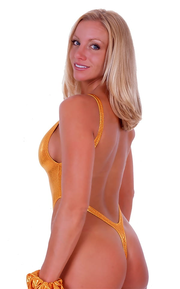 Womens One Piece Thong Swim Suit in Metallic Mystique Yellow-Chartreuse 3