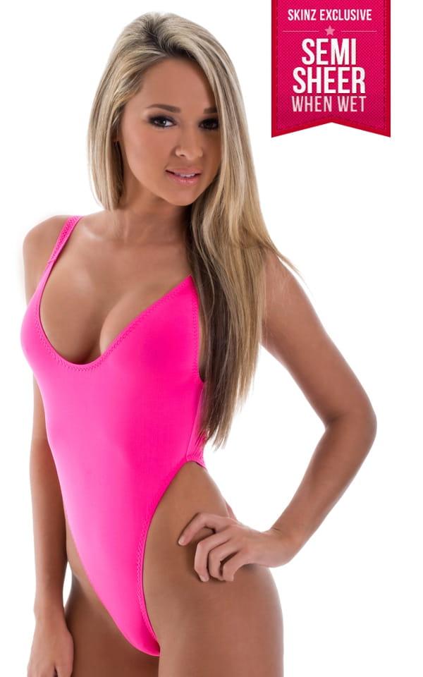 321d7ec7bae One Piece Thong Bikini in Semi Sheer ThinSKINZ Hot Pink