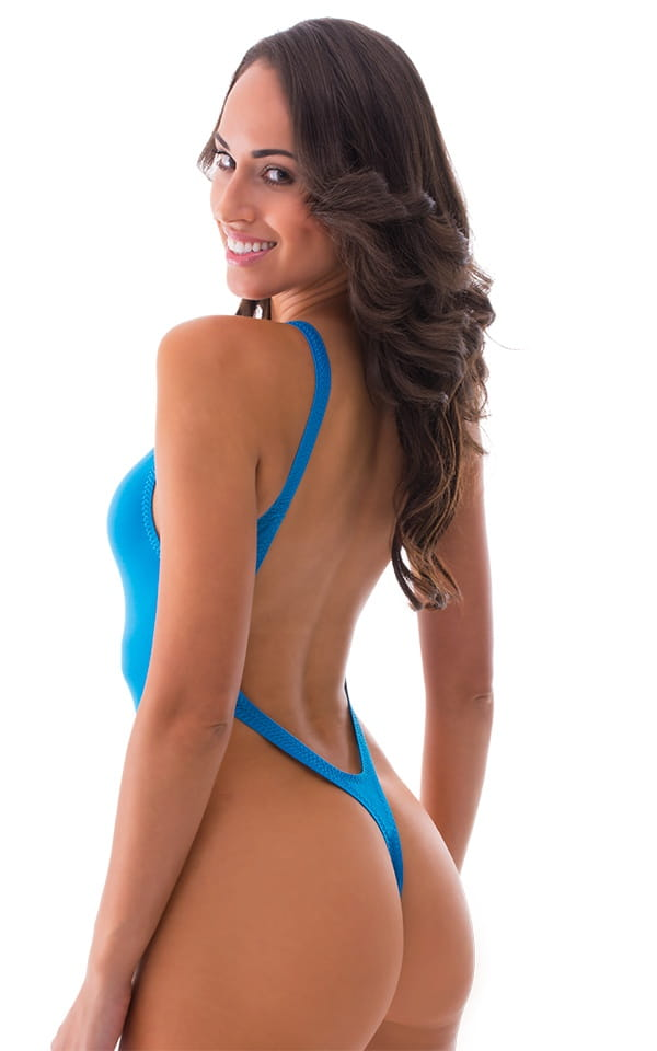 One Piece Thong Swim Suit in Semi Sheer ThinSKINZ Sapphire 3