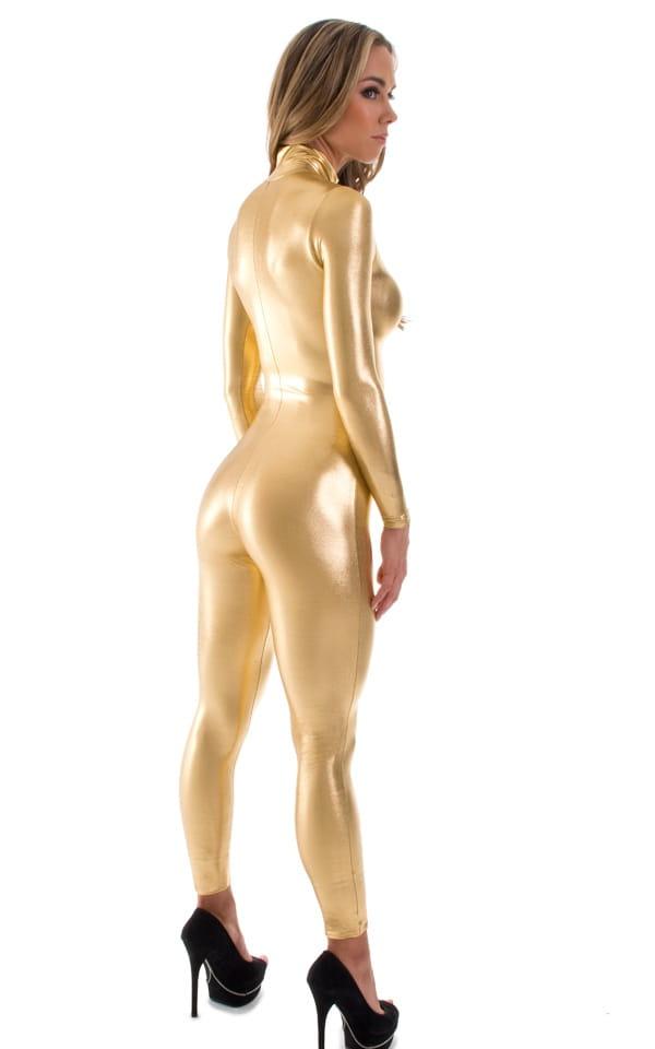 Front Zipper Catsuit-Bodysuit in Liquid Gold 3