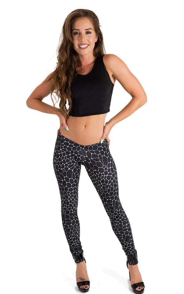 Womens Super Low Rise Fitness Leggings in String Theory 4