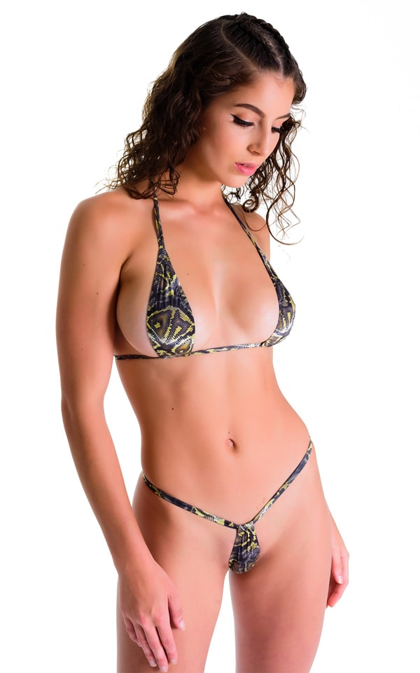 Teardrop G String Micro Bikini in Super ThinSkinz Coiled Python 3