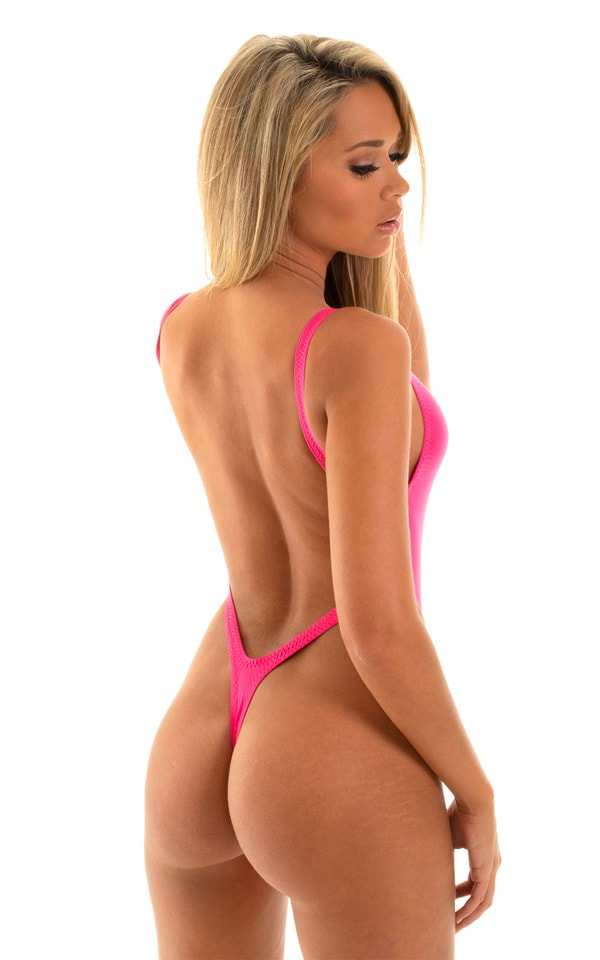 One Piece Thong Bikini in Semi Sheer ThinSKINZ Hot Pink 3