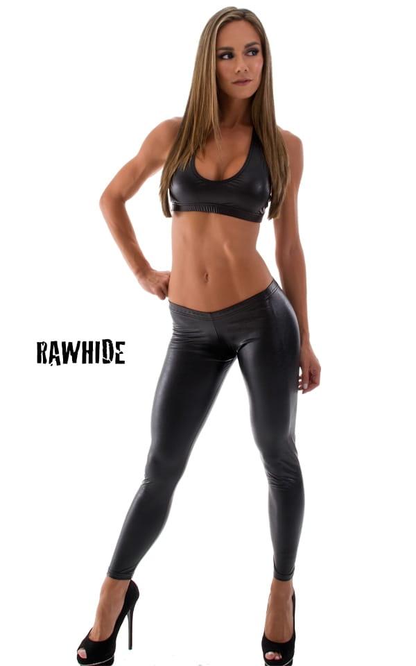 19b8cf13b2 Womens Sport Halter Top in Black Rawhide Leatherlook | Skinzwear.com