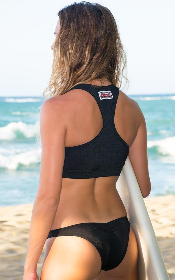 Surfer Girl Runched Swimsuit Bottom in Black 3