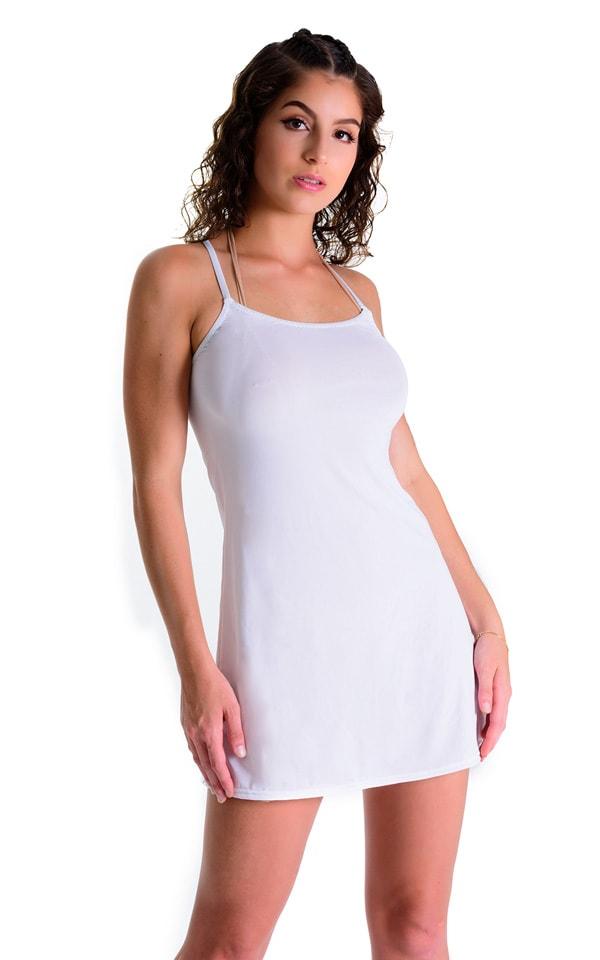 Cover Up Mini Dress in Super ThinSKINZ White 1