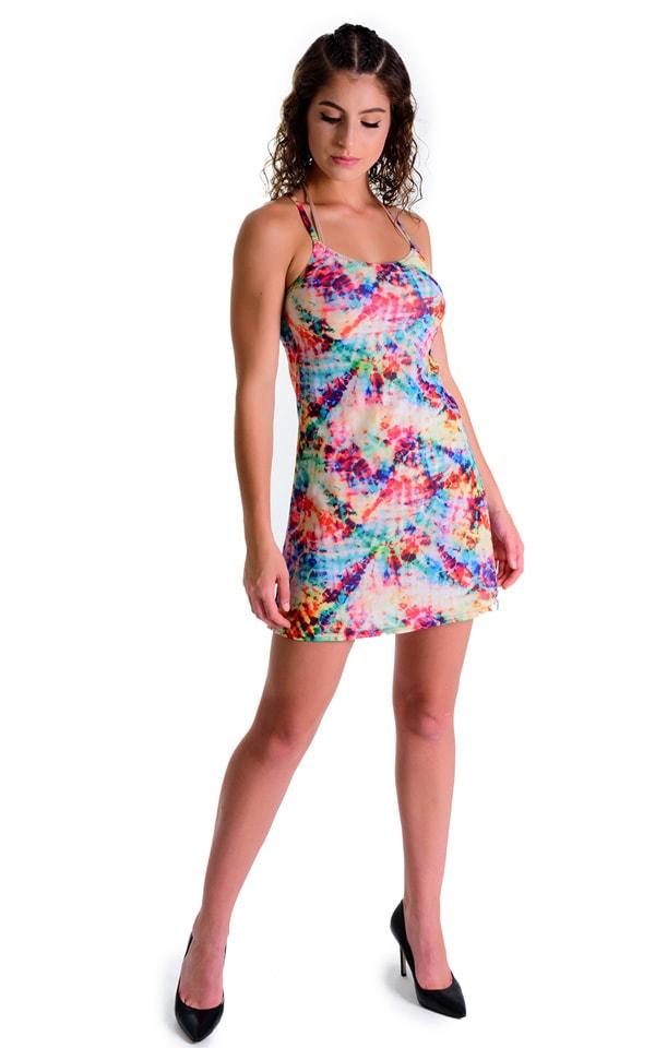 Cover Up Mini Dress in Tan Through Retro Tie Dye 3