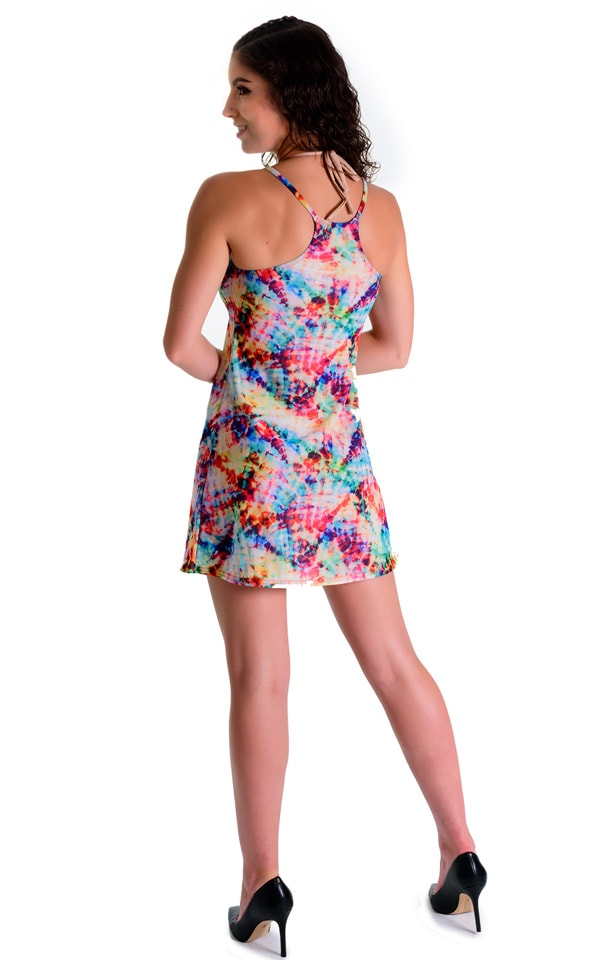 Cover Up Mini Dress in Tan Through Retro Tie Dye 4
