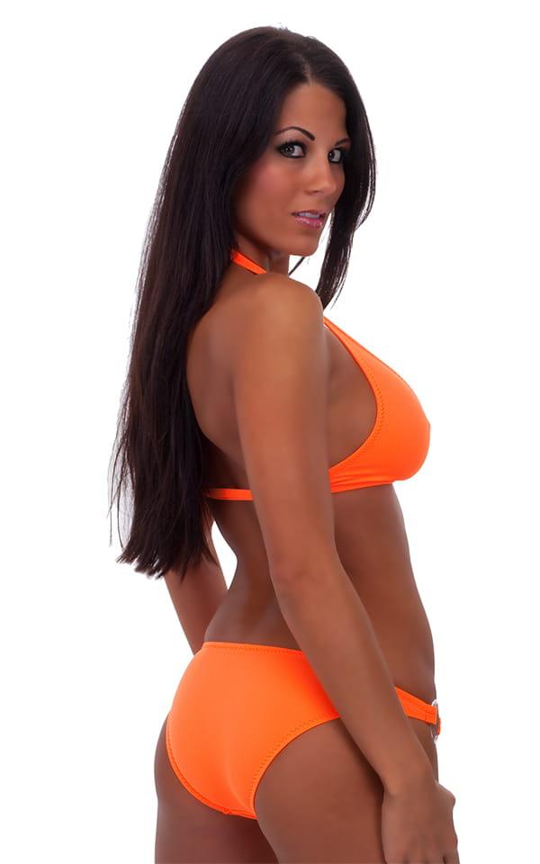 Womens Palm Beach Halter Swim Top in Neon Orange 3