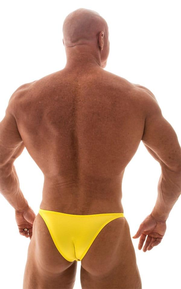 Bodybuilder Posing Suit - Narrow Back in Wet Look Yellow 3