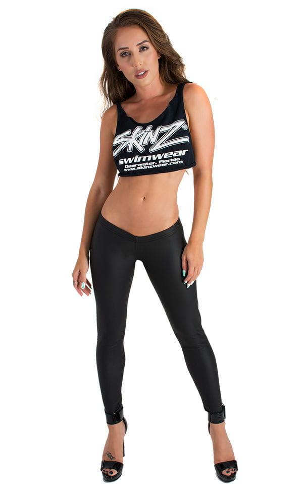 Womens Super Low Rise Fitness Leggings in Black Neoprene 3