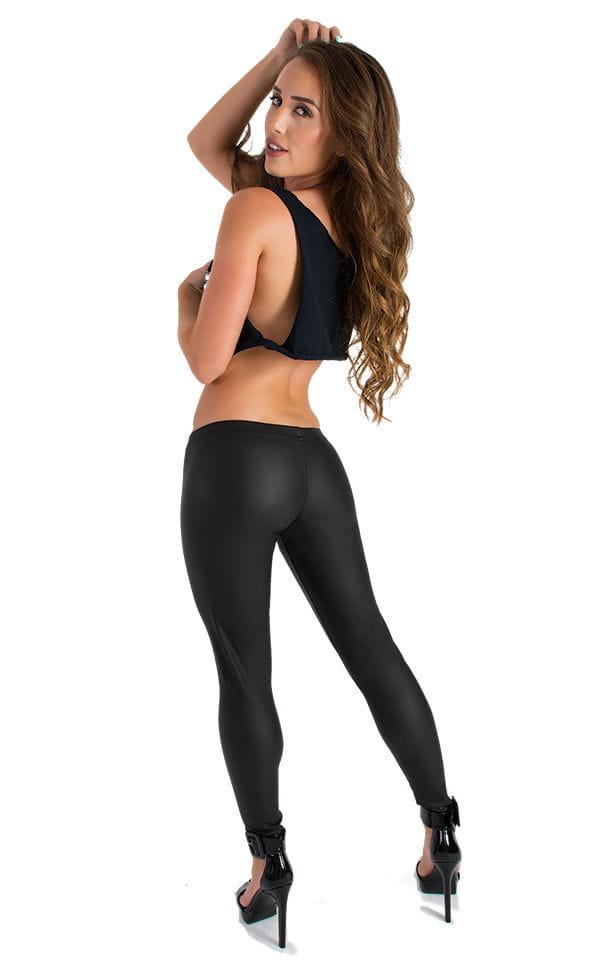 Womens Super Low Rise Fitness Leggings in Black Neoprene 2