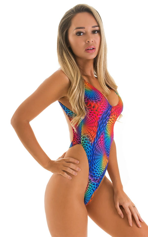 One Piece Thong Swimsuit in Rainbow Ripples 3