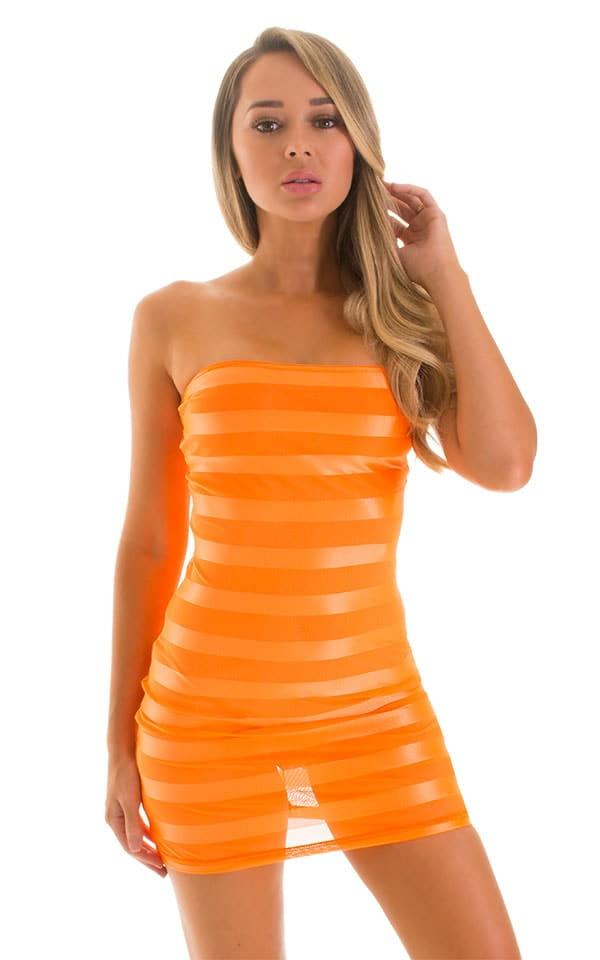 Mini Strapless Bodycon Dress in Tangerine Satin Stripe 3
