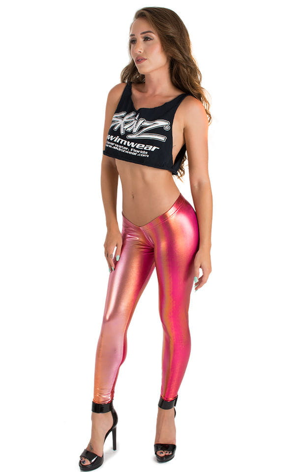 Womens Super Low Rise Fitness Leggings in Metallic Sunset Ombre 1