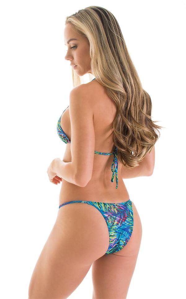 Brazilian Triangle Swim Top in Tan Through Neon Ferns 2