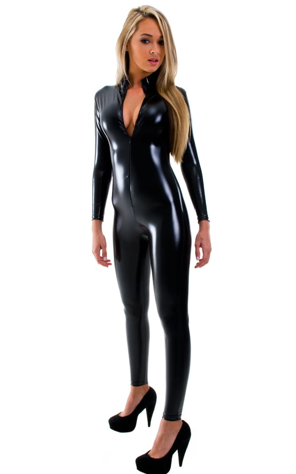 Front Zipper Catsuit-Bodysuit for Women in Gloss Black Superstretch Vinyl-Lycra 4