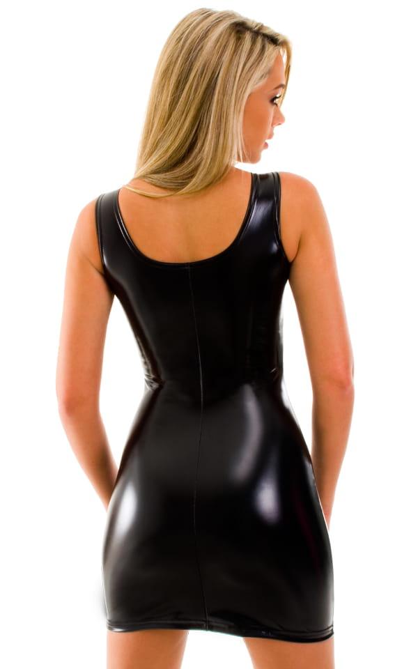 Hot Tight Sexy Mini Club Dress in Super Stretch Black Vinyl 3