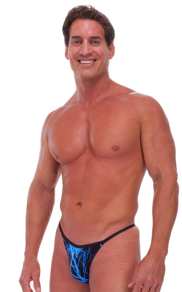 Banded - High Cut - Half Back - Swimsuit in Laser Blue Lightning and  Black 1