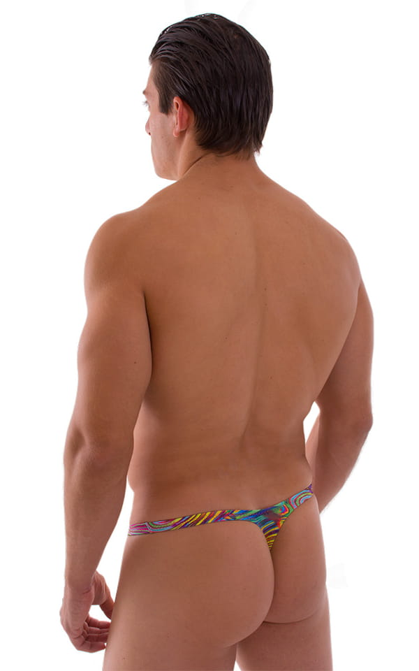 Stuffit Pouch Thong Back Swimsuit in Neon Satin Dali 2