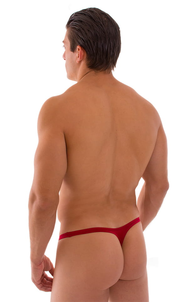 Stuffit Pouch Thong Back Swimsuit in Semi Sheer ThinSKINZ Lipstick Red 3