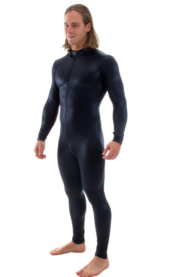 Full Bodysuit Zentai Lycra Spandex Suit for men in Wet Look Black 1