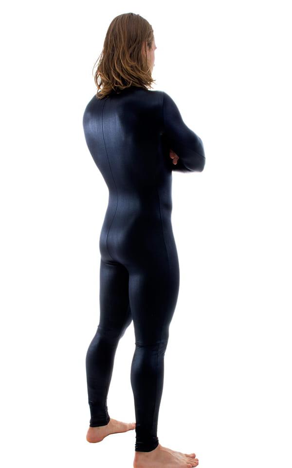 Full Bodysuit Zentai Lycra Spandex Suit for men in Wet Look Black 3