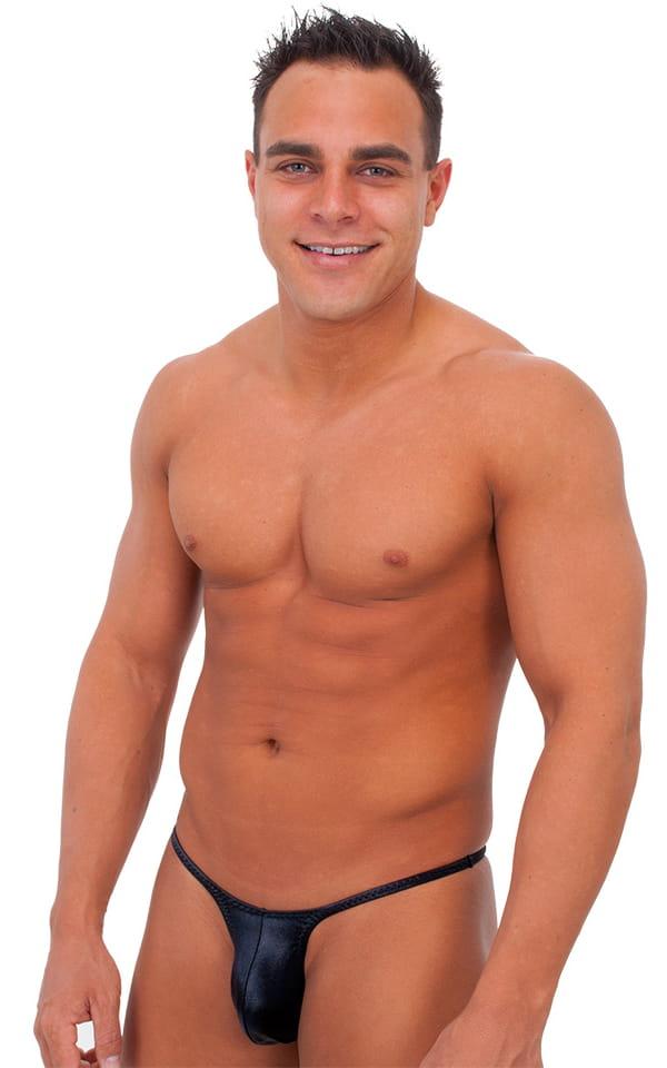 Sunseeker Micro Pouch Half Back Bikini in Wet Look Black Tricot nylon/lycra 1