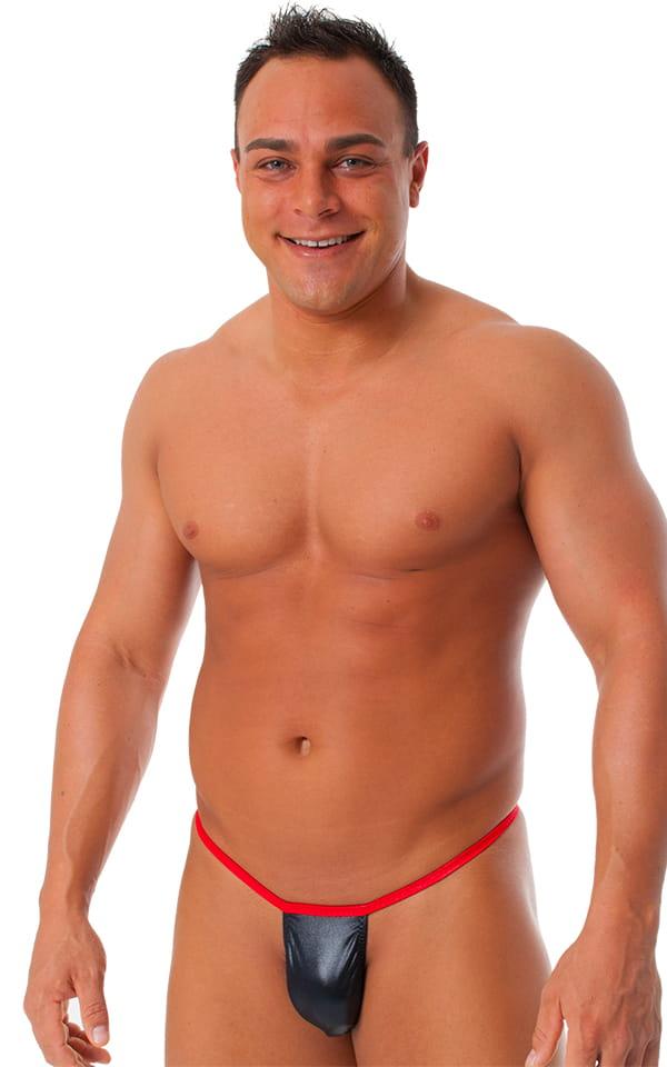 Banded Thong Bathing Suit in Wet Look Black - Wet Look Red Banding 1