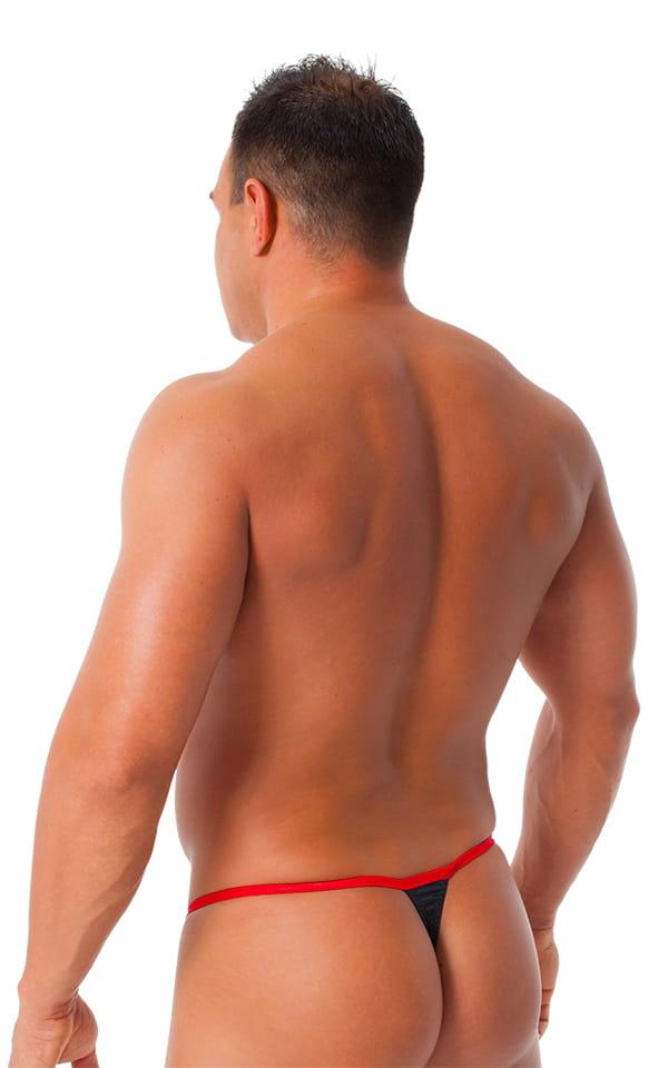 Banded Thong Bathing Suit in Wet Look Black - Wet Look Red Banding 3