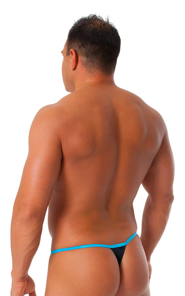 Banded Thong Bathing Suit in  Black - Wet Look Turquoise Banding 3