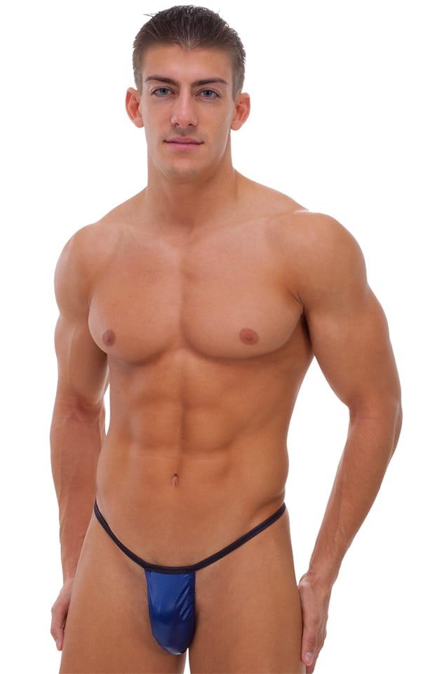 Banded Thong Bathing Suit in Dark Navy Blue and Wet Look Black Banding 1