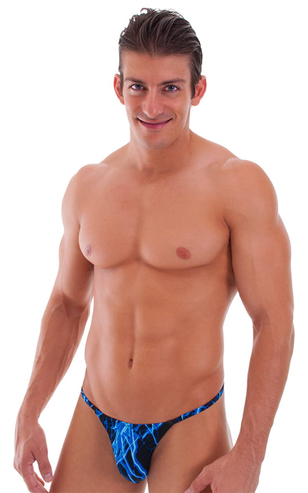Smooth Pouch Skinny Sides Swim Thong in Lazer Blue Lightning 1
