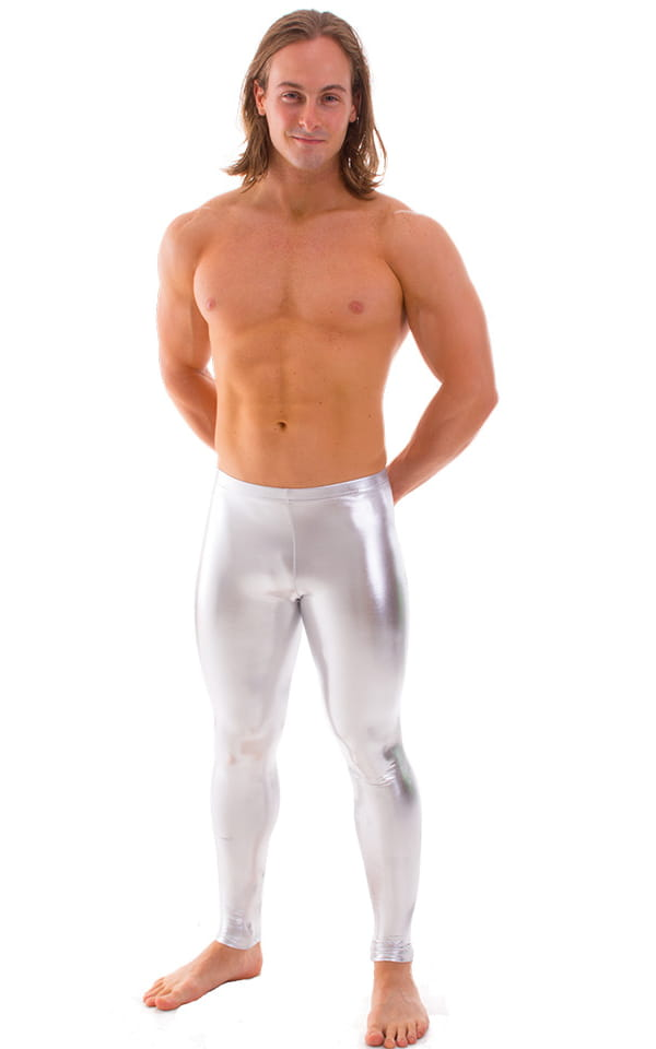 Mens Leggings Tights in Liquid Silver Chrome 1