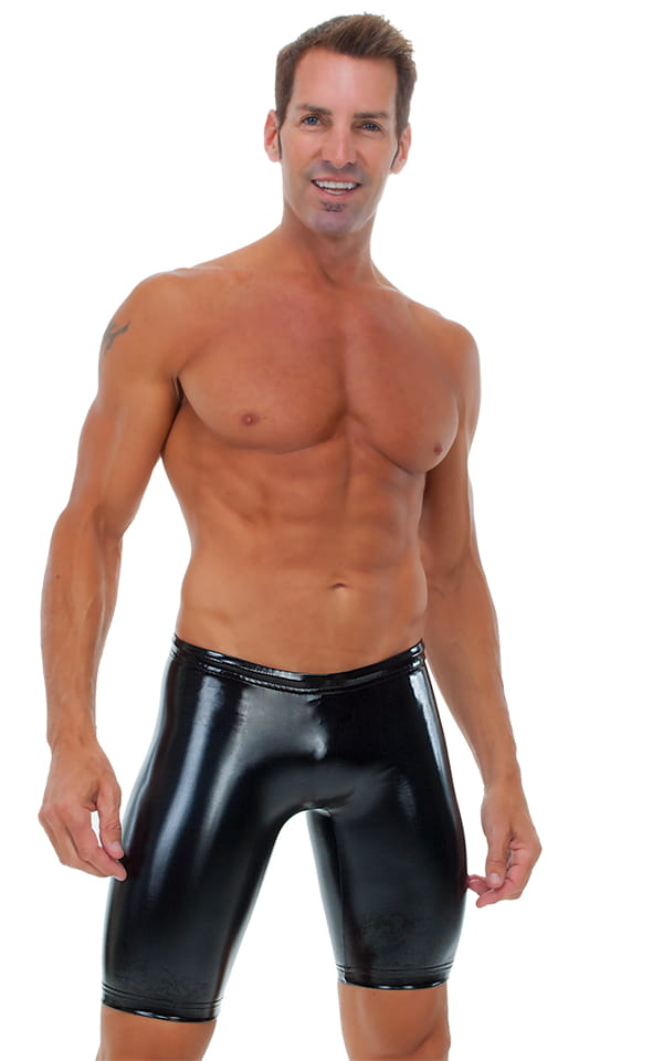 Competition Swim-Dive Jammers in Gloss Black Vinyl 1