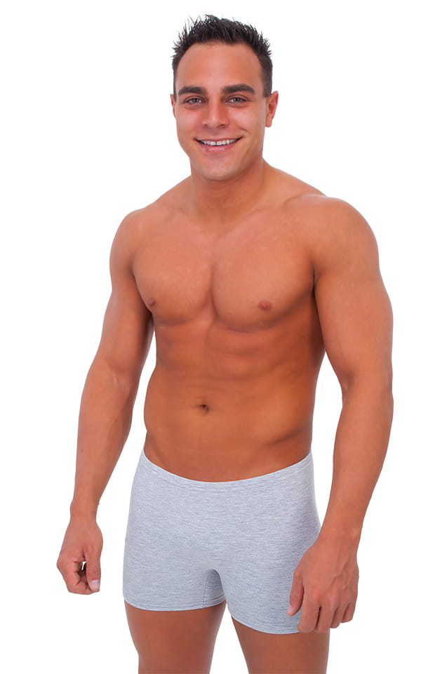 Seamless Square Cut Underwear Gym Shorts in Heather Grey Heavy-Poly-Cotton-Lycra 1