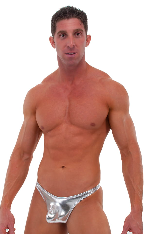 Pouch Enhanced Pistol Pete Thong in Liquid Silver (PRO Lining) 1