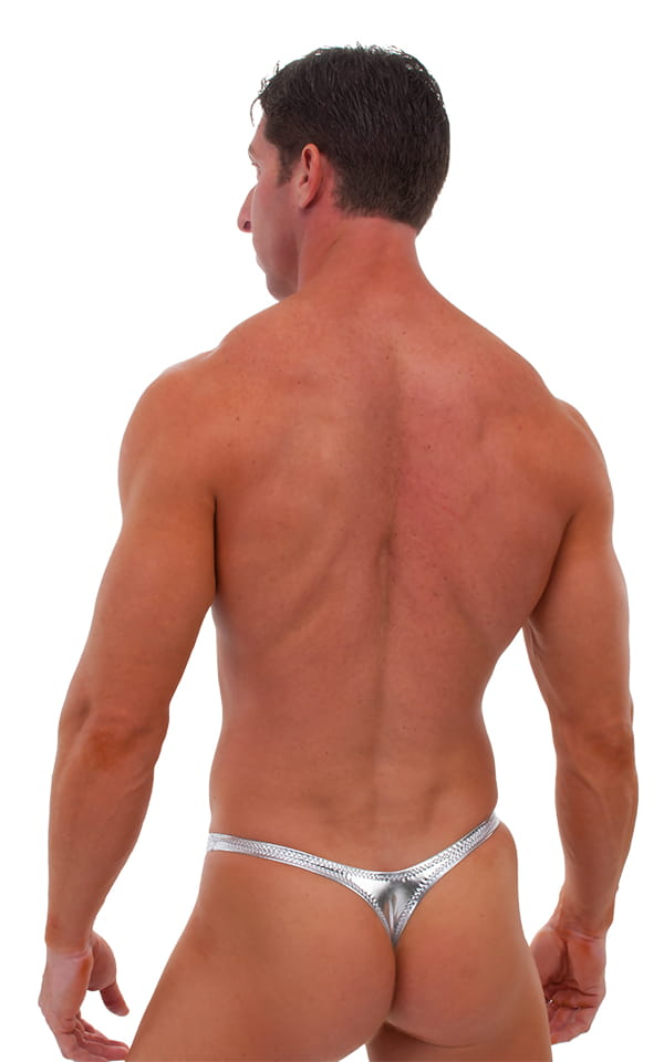Pouch Enhanced Pistol Pete Thong in Liquid Silver (PRO Lining) 3