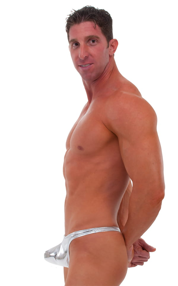 Pouch Enhanced Pistol Pete Thong in Liquid Silver (PRO Lining) 4