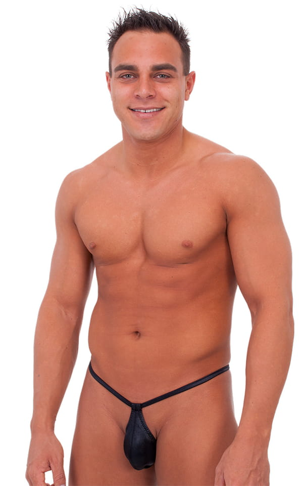 Teardrop G String Swim Suit in Wet Look Black 1